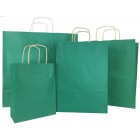 Green paper bag for gifts sizes