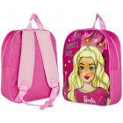 A beautiful pink backpack for a girl. Barbie child