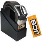 Thick leather belt JCB3 black / gray