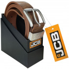 A thick brown leather men's belt JCB3