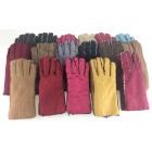 Zamszowe rękawiczki damskie czarne obszycia M i L