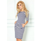 Dress Sport - navy blue and white stripes