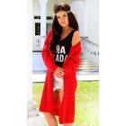 DE LEX openwork sweater, long, cardigan, red