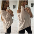 Sweater with welt, asymmetrical, powder pink