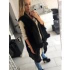 Sleeveless vest, vest, fur, black, unisize
