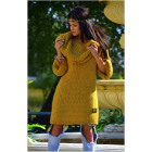 Boho long sweater, golf, hood, yellow, oversize