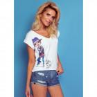 T-Shirt DE LUX: DOG WALK, top, cleavage, white
