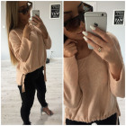 Sweater with welt, asymmetrical, salmon