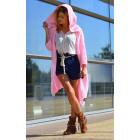 Long boho sweater, cardigan, pink hood coat