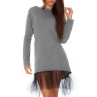 Dress with tulle, gray unisize