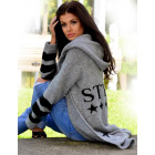 Cardigan, cardigan with a STYLE hood, gray