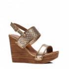 Shoes, sandals, wedges, openwork, gold