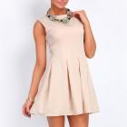 Beauty dress, flared, beige, SML XL