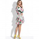 Summer dress, flowers, manufacturer DE LUX, white