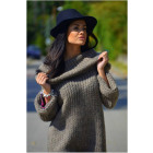 Boho long sweater, golf, hood, mocha, oversize