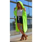 Long boho sweater, cardigan, hood coat, neon
