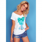 DE LUX T-Shirt : SPIKE HEEL, top, cleavage, white