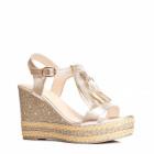 Shoes, wedges, sandals, color, gold