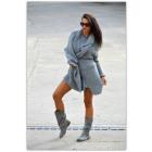 Suéter, colcha, color gris, de gran tamaño, éxito