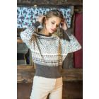 Jacquard sweater with cuffs, quality, Espresso