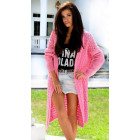DE LEX openwork sweater, long, cardigan, pink