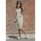 Boho dress, binding, producer, beige DE LUX