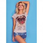 T-Shirt DE LUX: STAY COOL print, top, slim beige