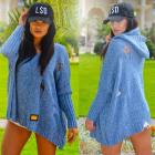 trui, warm, kap, kwaliteit, unisize, blauw