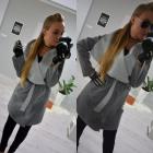 Manteau, ceinture, poches, long, gris