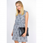 Floral dress with a welt, gray