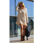 Sweater, sweater dress, flounce, beige, unisize