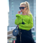 Sweater with openwork sleeves, producer, colors