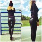Eco leather leggings, producer, quality, black