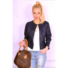 Spring jacket, eco leather, navy blue, S, M, L, XL