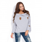 Sweatshirt with patches, producer, gray