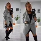 Autumn coat, belt, pockets, gray