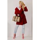 Coat fleece, spring, burgundy