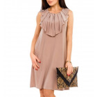 Dress, flounce at the neckline, cappuccino, uni