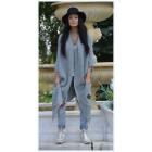 suéter capa larga, colcha, gris de gran tamaño