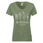 Women T-Shirt V-neck cactus, khaki, assorted size