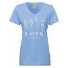 Women T-Shirt V-neck cactus, light blue, assorted