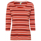 Ladies shirt with 3/4 sleeves, orange / white / na