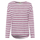 Ladies long-sleeved shirt striped, S, mauve / whit