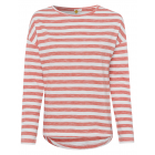 Ladies long-sleeved shirt striped, 3XL, orange / w