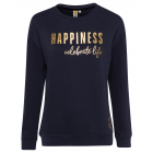 Ladies sweatshirt round neck Happiness, anthracite