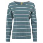 Ladies long-sleeved shirt striped, 3XL, green
