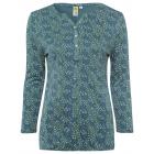 Ladies blouse shirt 7/8 allover polka dots, S, gre