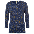 Ladies blouse shirt 7/8 allover polka dots, S, nav