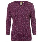 Damen Blusenshirt 7/8 allover Tupfen, XL, bordeaux