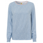 Ladies blouse long-sleeved polka dots, light blue,